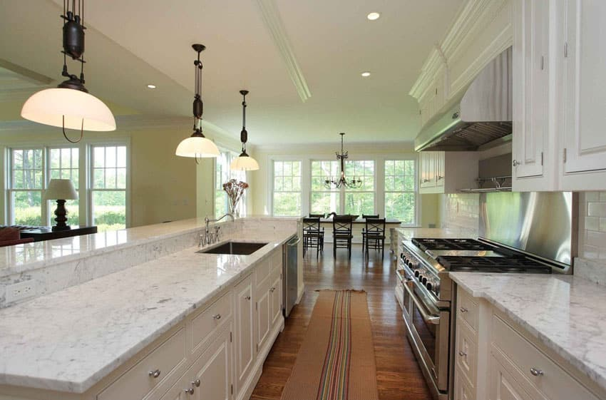 Open kitchen with bianco venatino marble counter