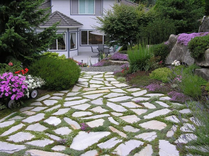 Golden quartzite slate flagstone path in home's backyard