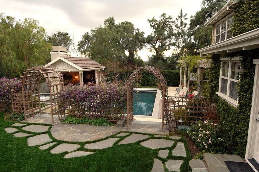 Granite flagstone path around swimming pool