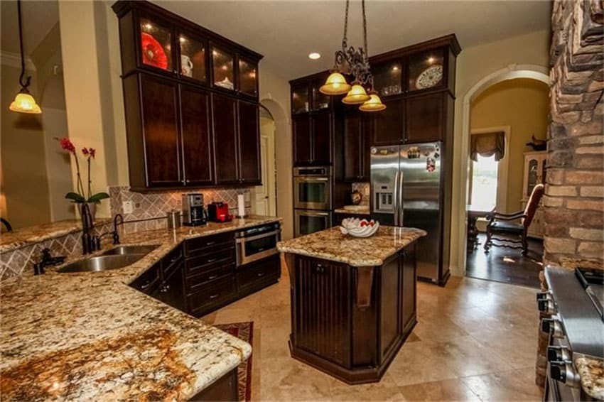 Granite topped movable kitchen island