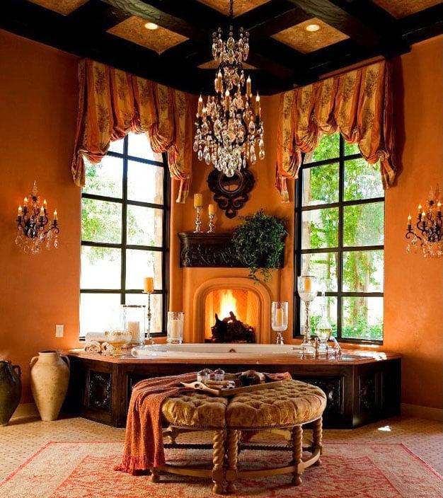 Luxury bathroom with tub chandelier
