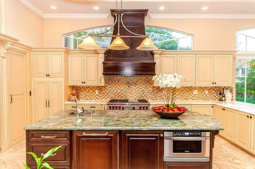 Luxury kitchen with island and gemstone countertops