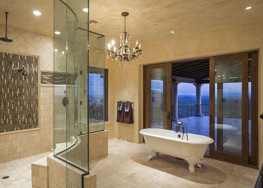 27 gorgeous bathroom chandelier ideas designing idea for Bathroom suite ideas