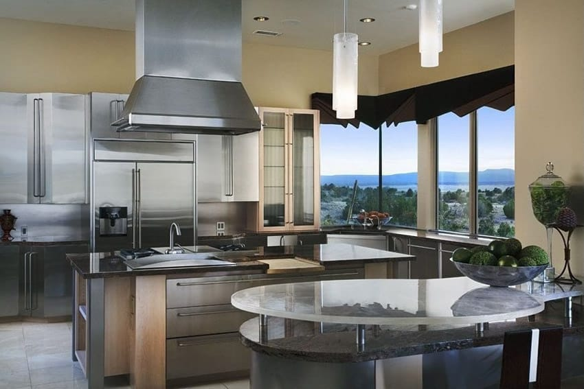 Modern kitchen with glass topped counter