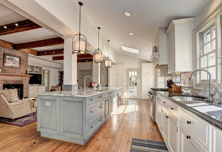 Open plan country kitchen with carrara marble counters