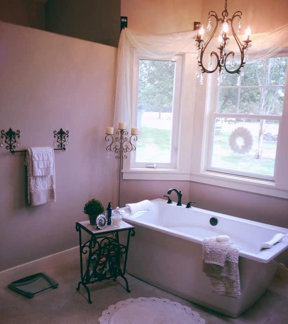 Romantic bathroom with mood lighting