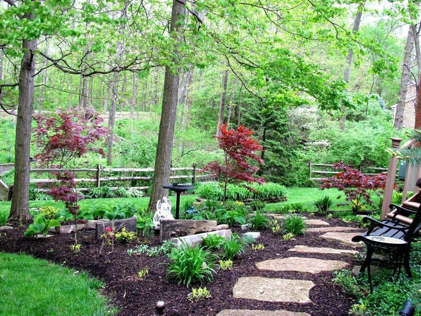 Rough granite step walkway in garden