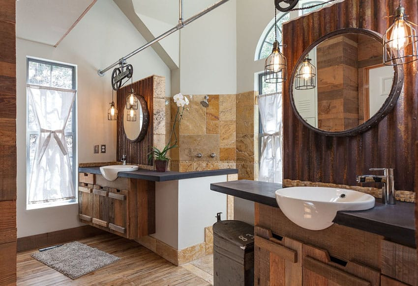 this charming rustic dual sink bathroom has rough wood cabinets wood. Black Bedroom Furniture Sets. Home Design Ideas