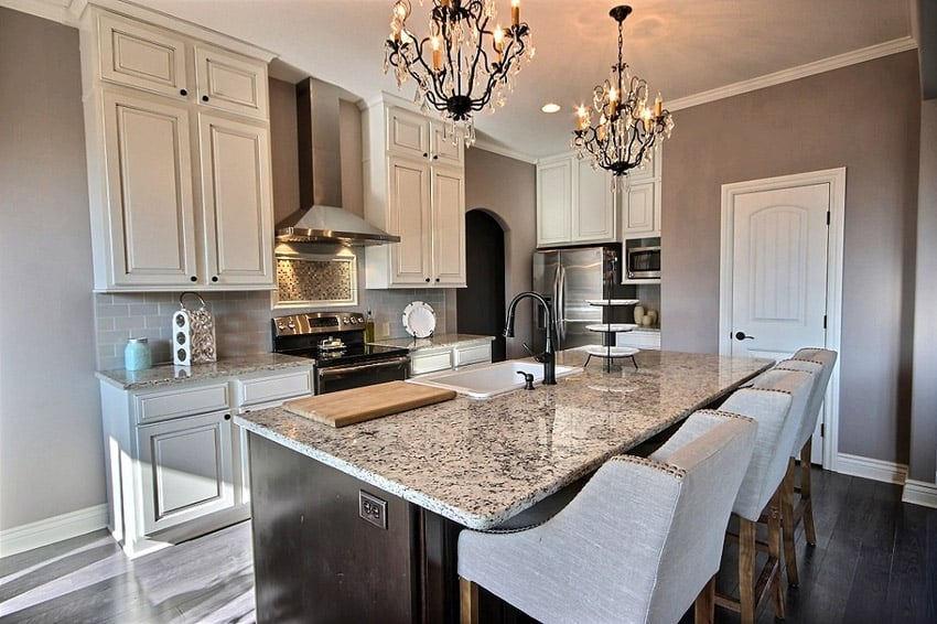 Small luxury kitchen with blanco tulum granite counters