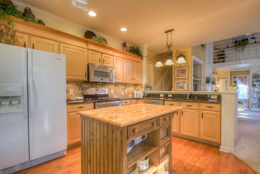 Small wood kitchen island with under counter storage space