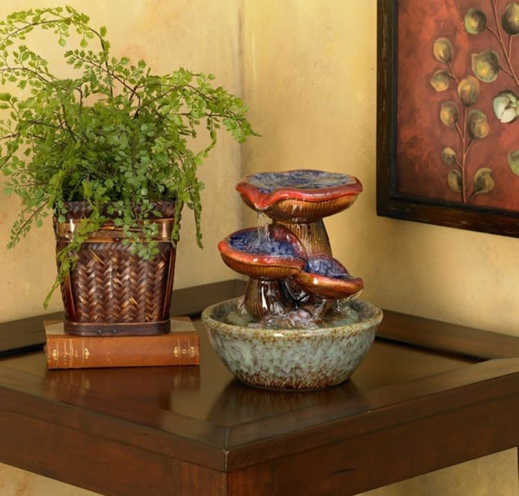 Toadstool tabletop fountain for indoors