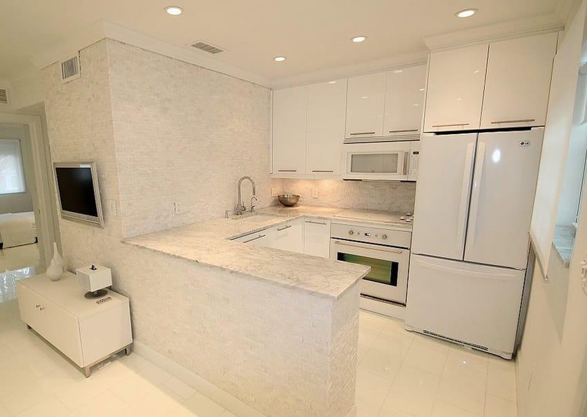 Ultra white small modern kitchen
