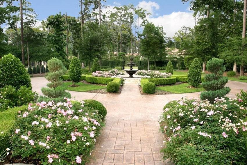 Vienna classic pavers walkway to garden fountain