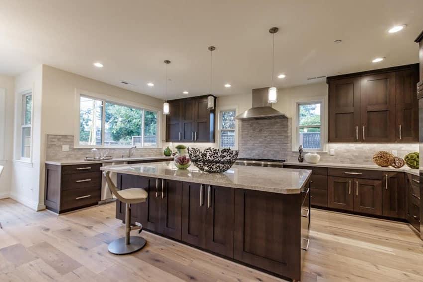 Beautiful kitchen with white brick subway tile