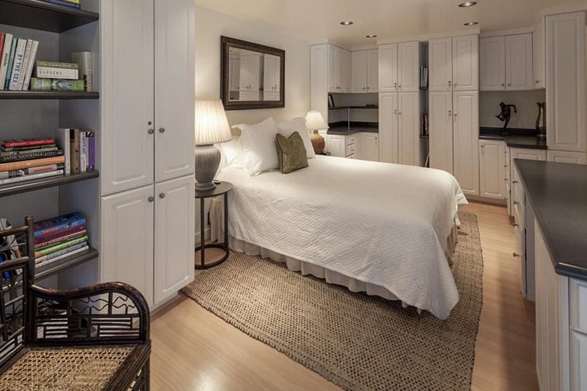 Bedroom with custom fitted cabinetry in white
