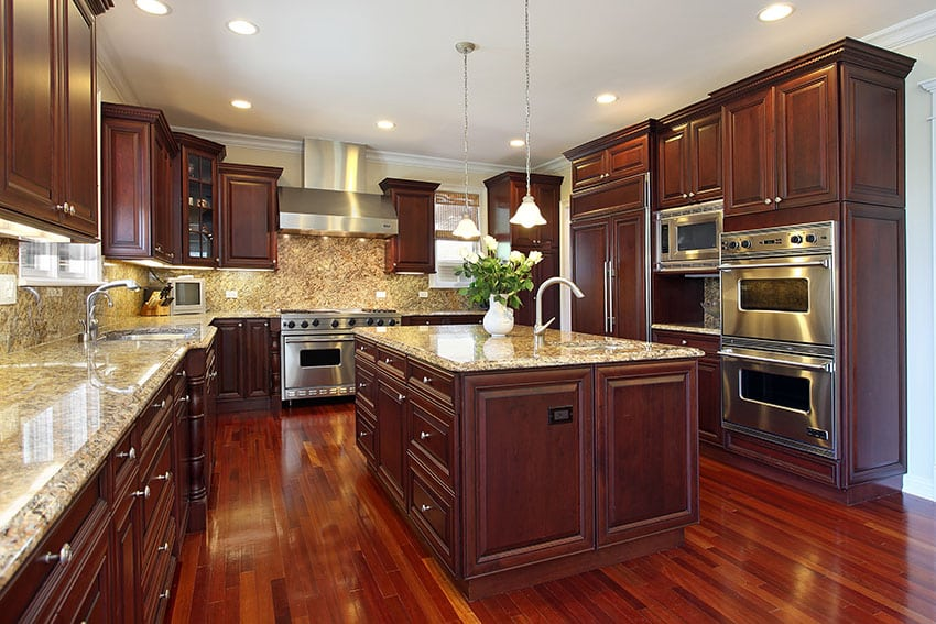 23 cherry wood kitchens cabinet designs ideas for Wood flooring kitchen ideas