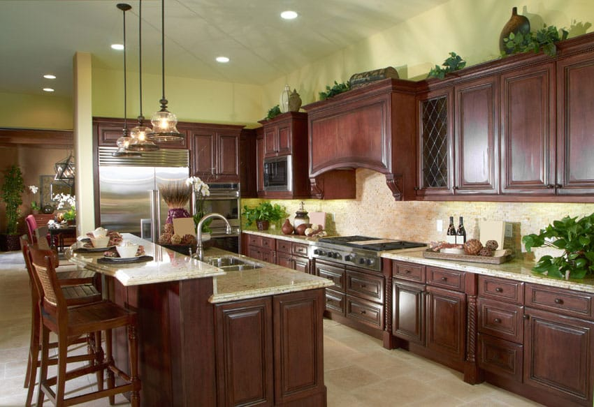 23 cherry wood kitchens cabinet designs ideas for Cherry wood kitchen cabinets