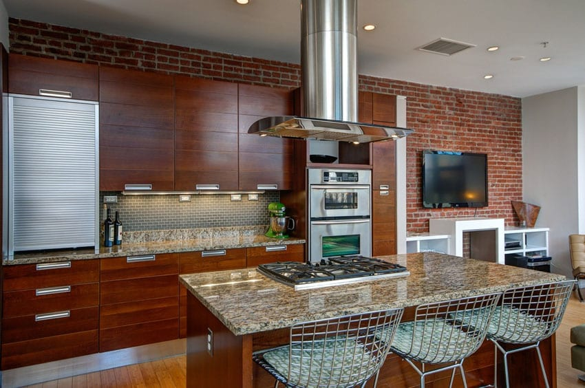 47 brick kitchen design ideas tile backsplash accent for Kitchen accent wall