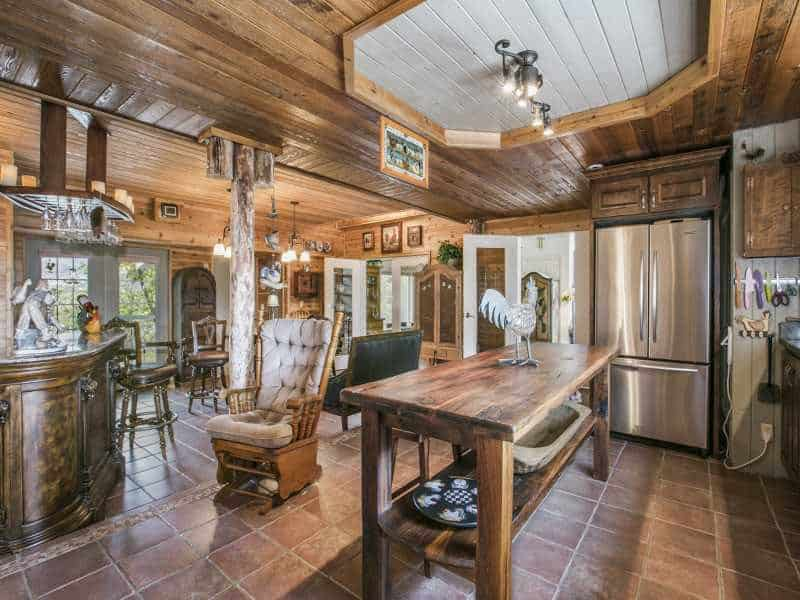 Country kitchen with portable oak island