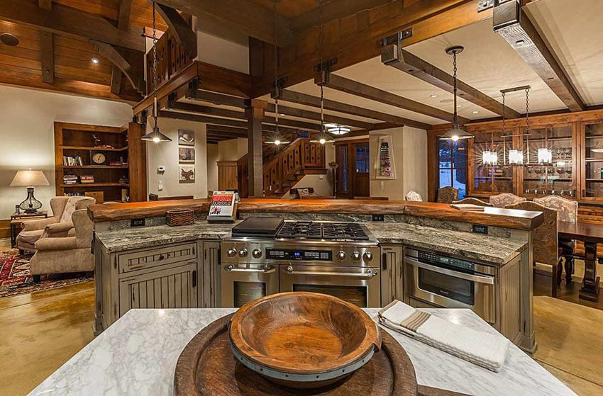 Craftsman kitchen with open layout carrara marble counters