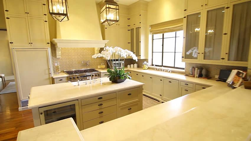 Cream color luxury kitchen with island