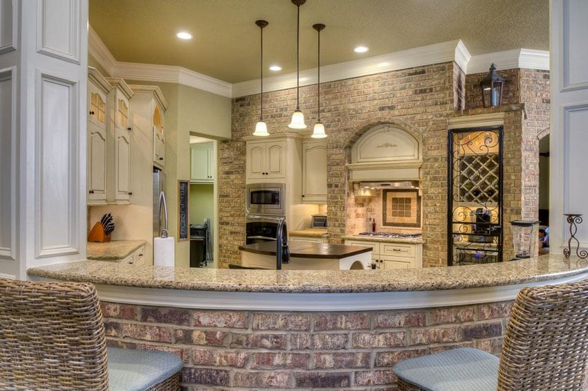 Cream Traditional Kitchen With Brick Breakfast Bar And Brick Accent