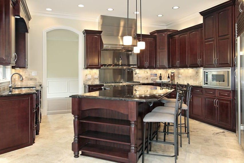 Dark wood kitchen with dining island