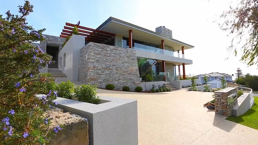 Driveway of modern home