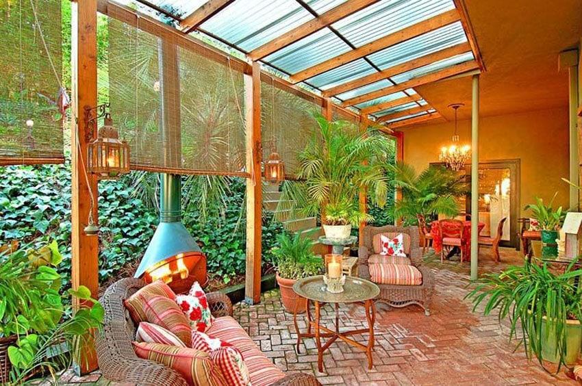 Herringbone brick patio with pergola