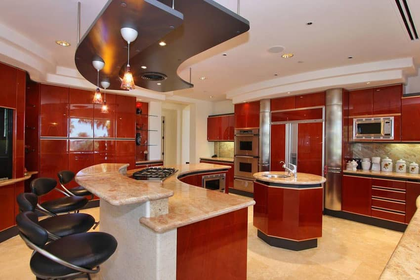 High end modern kitchen with cherry gloss finish