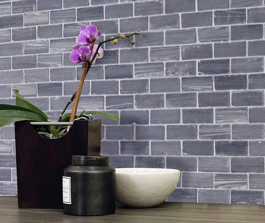 Large smoke color brick backsplash porcelain tile
