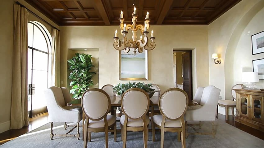 Luxury dining room with coffered ceiling