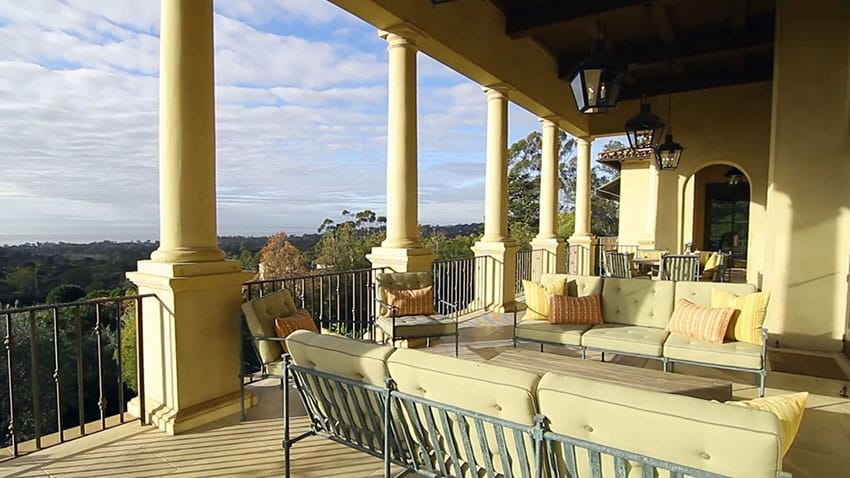 Luxury home balcony patio with outdoor furniture