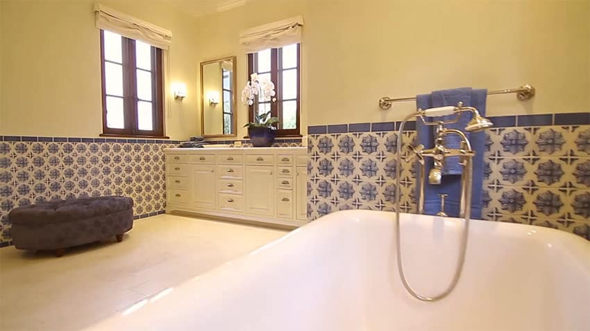 Luxury home master bath with tub