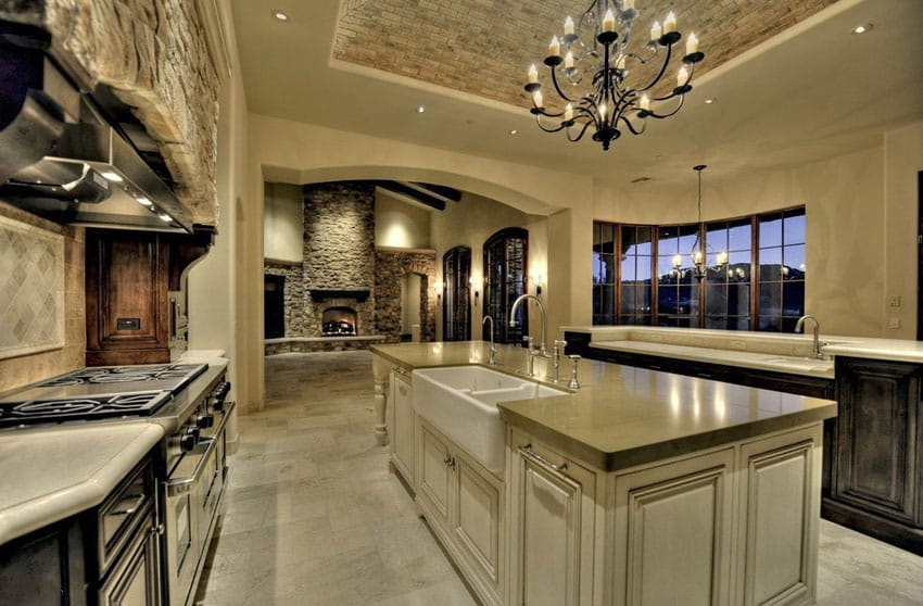 Luxury kitchen with quartz counter and chandelier