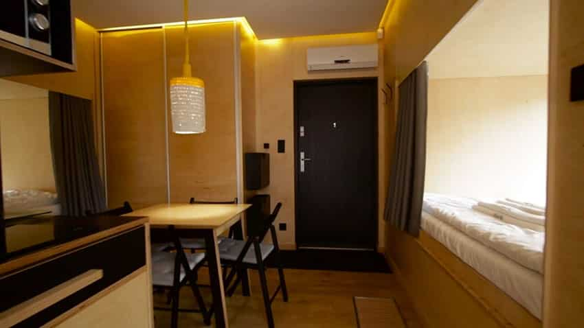 Micro apartment interior dining room and kitchenette