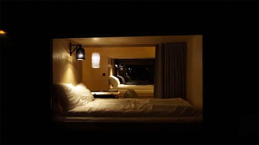 Micro apartment sleeping loft bedroom