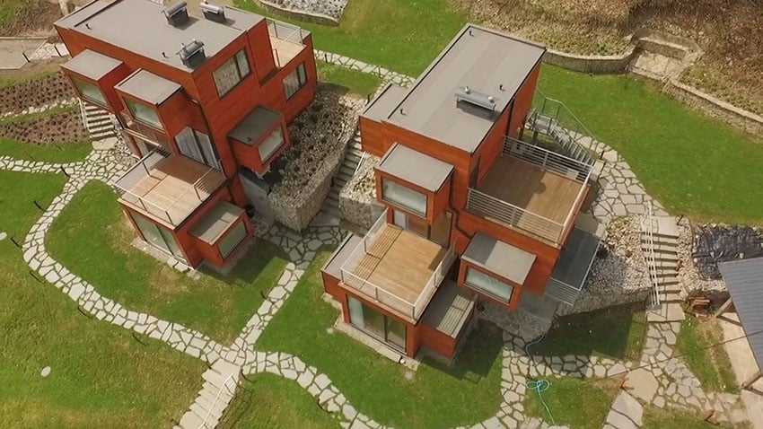 Micro apartments aerial view showing the buildings, landscaping and walkways