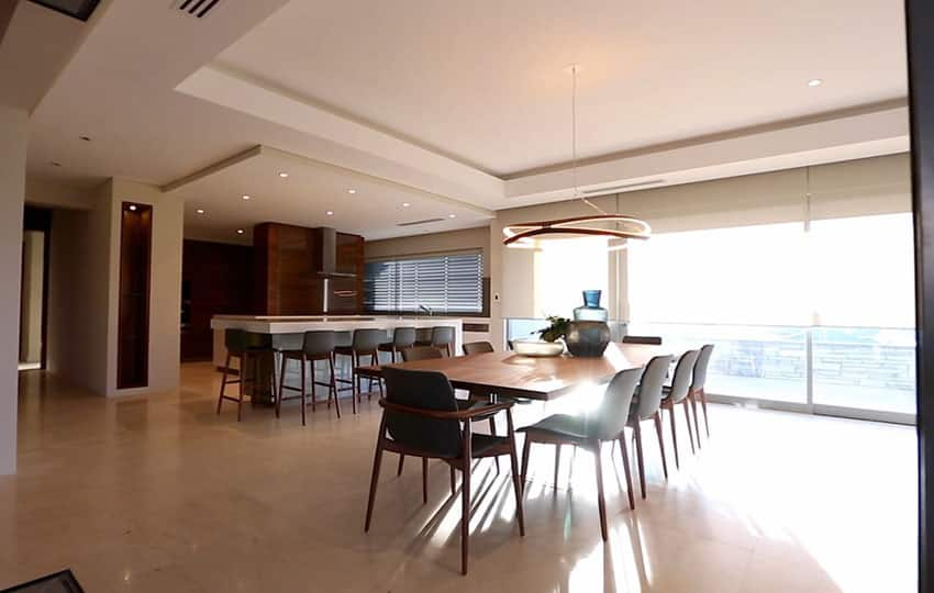 Modern dining room with view to open kitchen