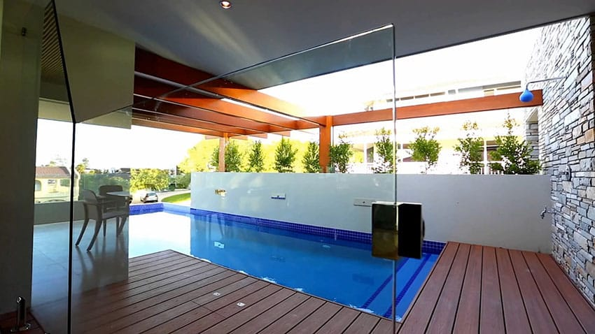 Modern swimming pool with deck