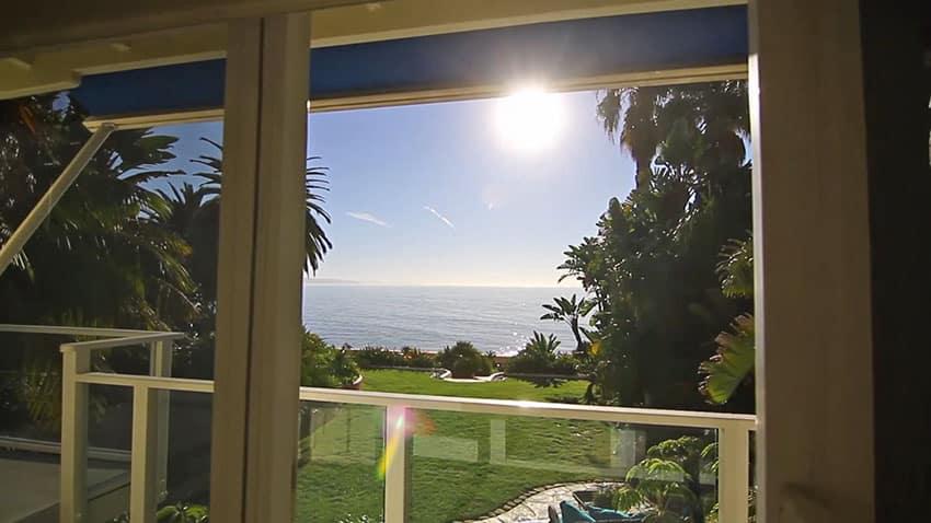 Santa Barbara ocean view from house bedroom with balcony