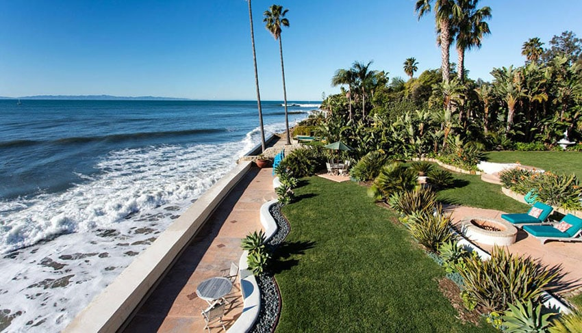Oceanfront backyard at luxury home