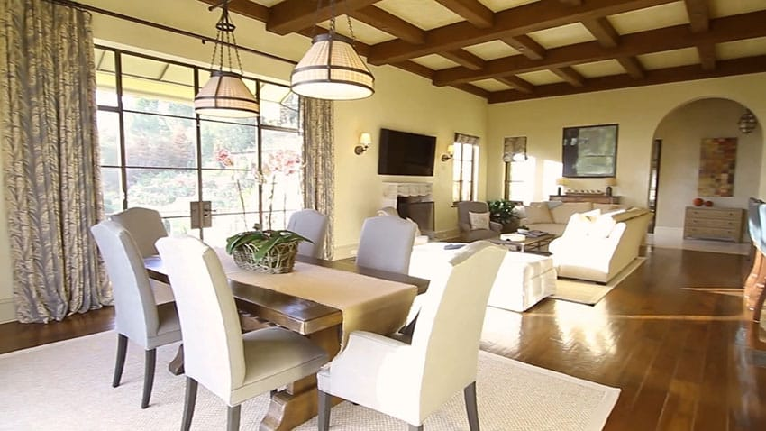 Open concept dining area to living room view