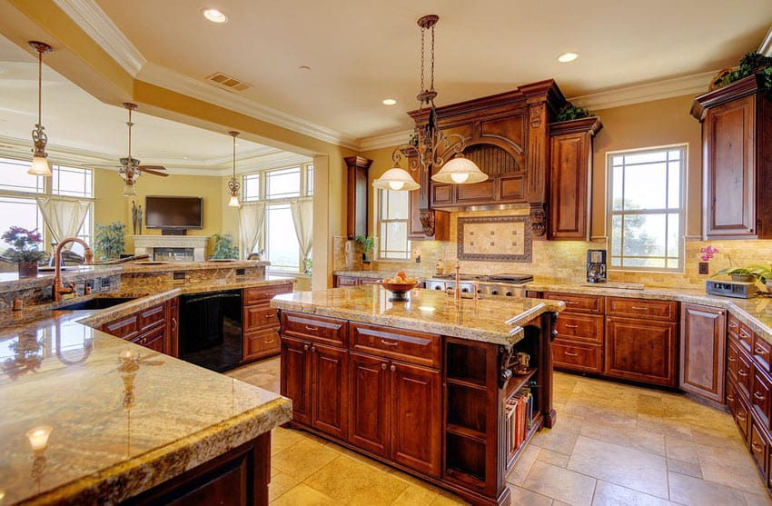 Open design kitchen with betularie granite counters