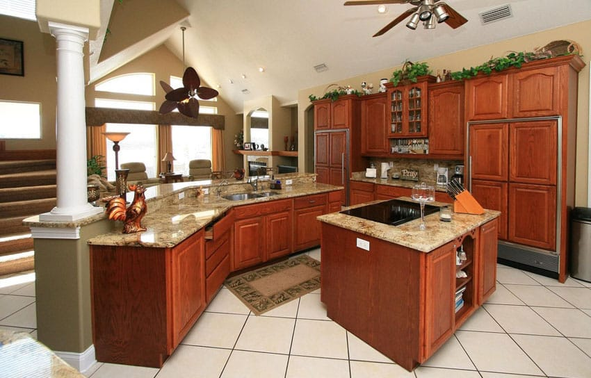 Open kitchen with porcelain tile floors