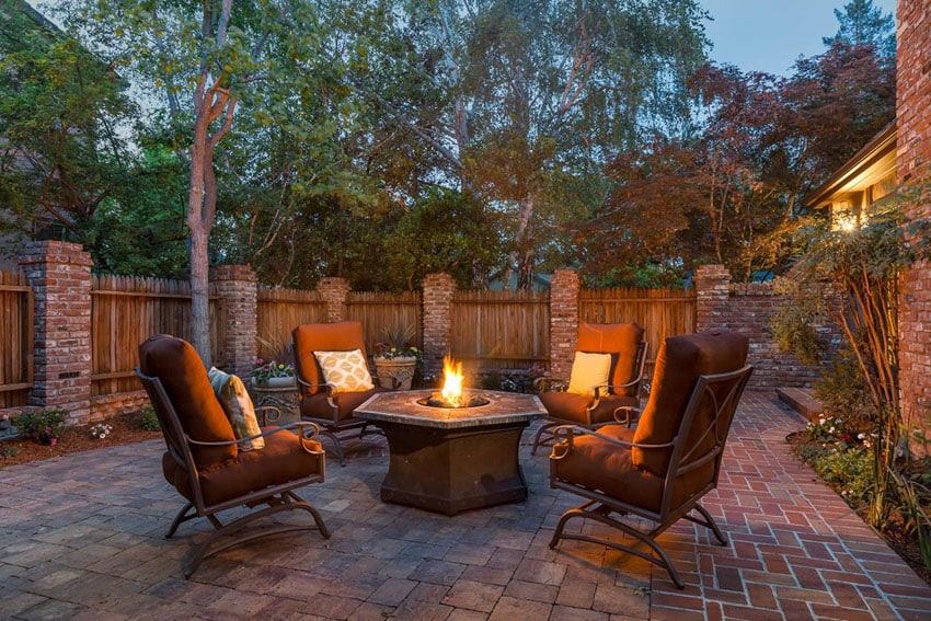 Patio with Catalina pavers and firepit