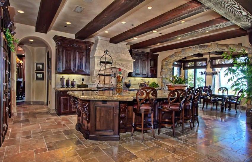 Rustic wood kitchen with amarelo ornamental granite countertops