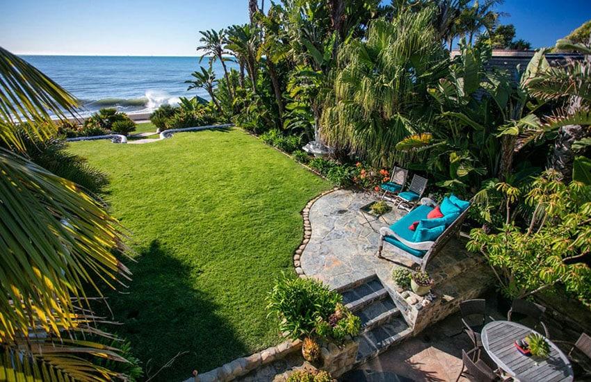 Stone patio with oceanview