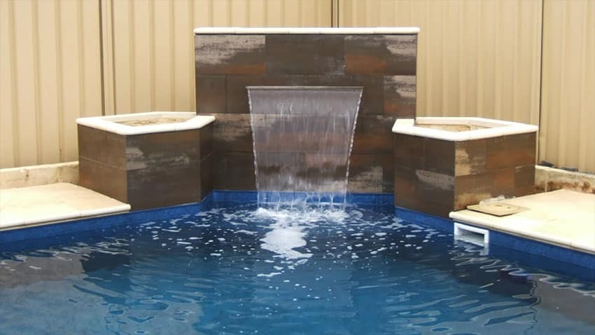 Swimming Pool Fountains : Swimming pool water features waterfall design ideas