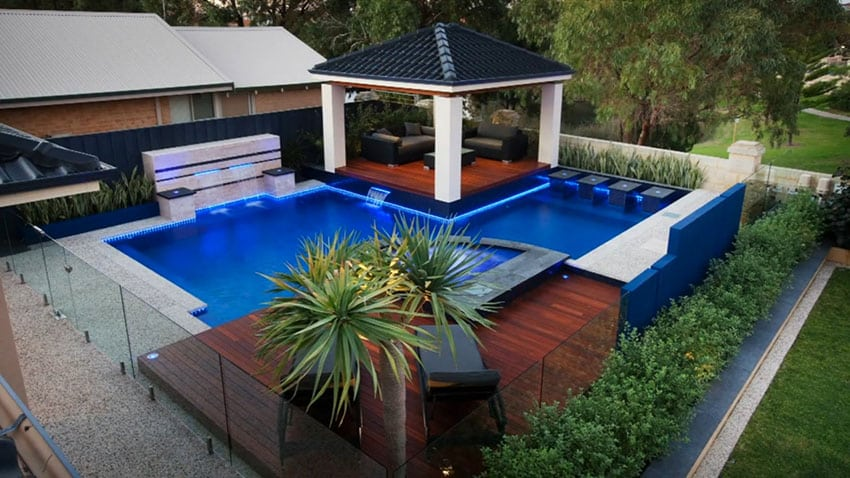 Swimming pool with water features deck and gazebo